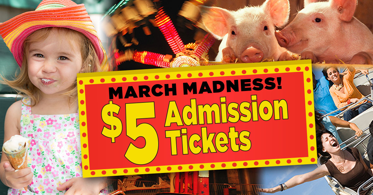 $5 March Madness offers up to 65% off admission tickets.