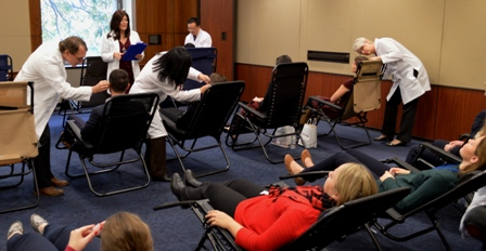 Acupuncturists perform one of several sessions of acupuncture on Capitol Hill.