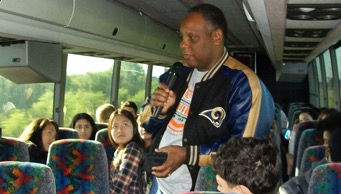 Brian Person on Bus with Students Going to Tallahassee