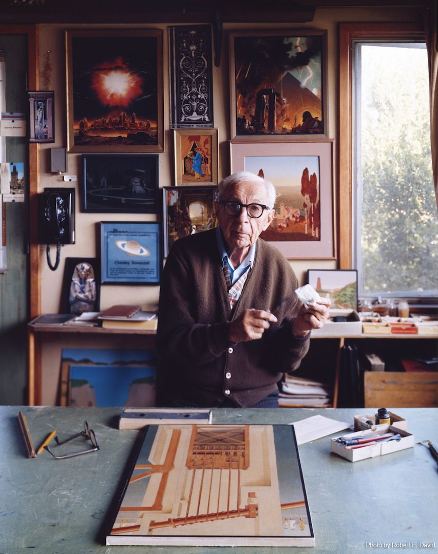 Chesley Bonestell in his home studio (1983). Photo by Robert E. David