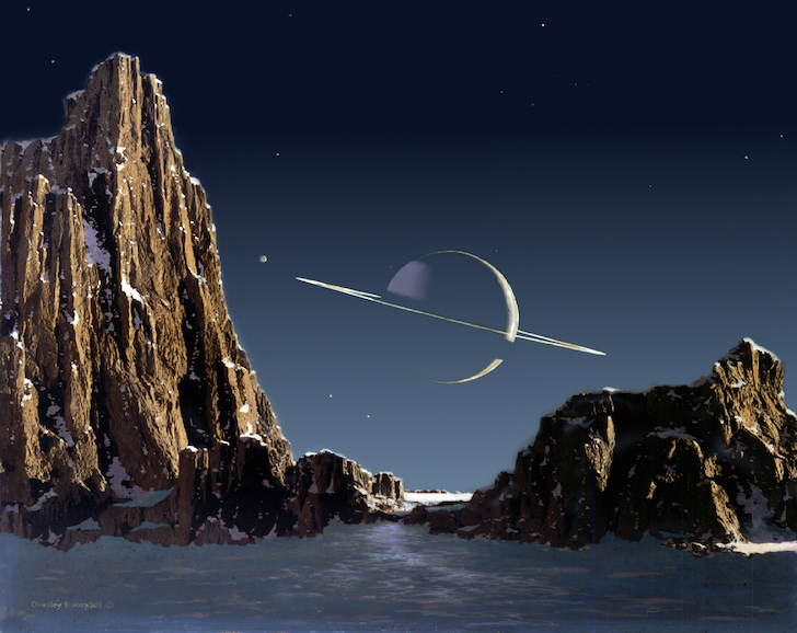 """Saturn as seen from Titan"" by Chesley Bonestell (1944)"